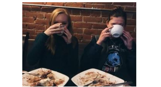 Racquet reporter Karley Betzler (L) enjoying coffee in La Crosse
