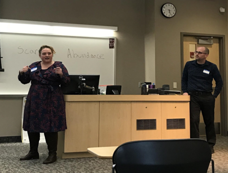 "Angela Birrittella (left) and Matt Evenson (right) presenting ""Both/And"" for UWL's third annual Social Justice Week."