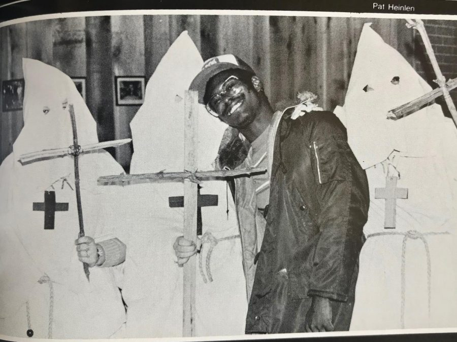 UWL students dress up as KKK members for Halloween. Image retrieved from UWL's 1979 Yearbook.