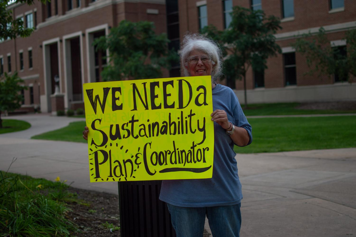 Photo of protester Cathy Van Maren at UWL climate strike. Photo taken by photojournalist Carly-Rundle Borchert.