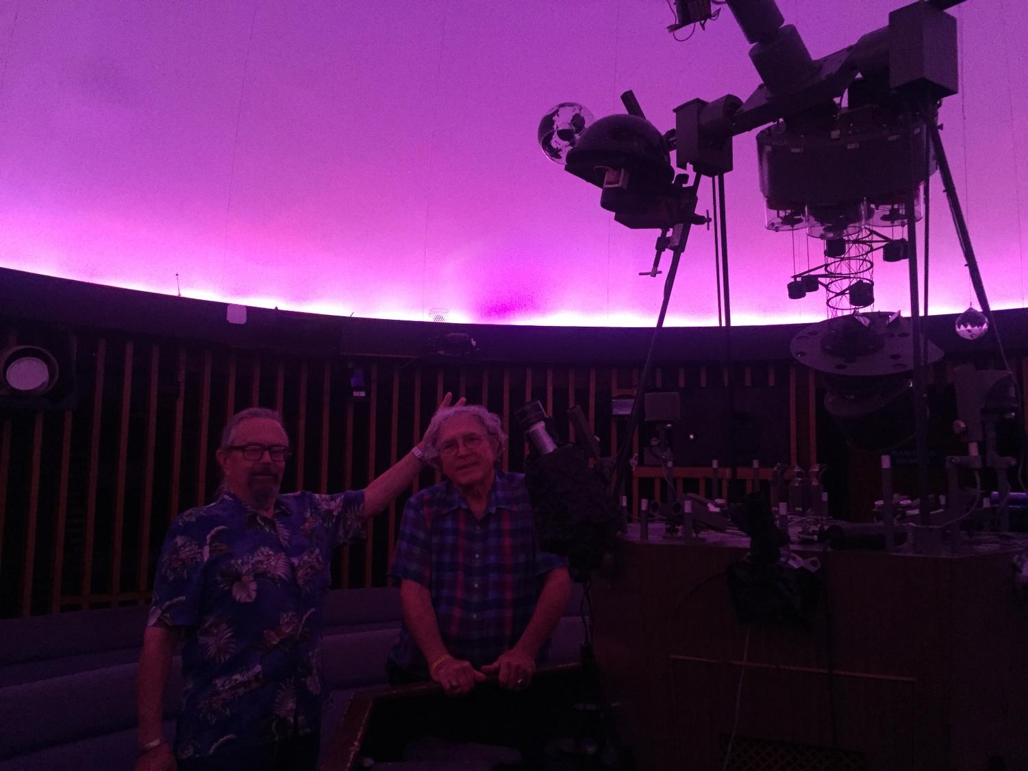 Tom Thompson (left) and Robert Allen (right) in the planetarium. Photo by Luis Acosta Jr.
