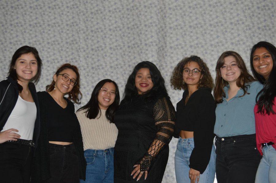 Members+of+ALANA+pose+with+owner+Choya+Woods.+From+left+to+right%2C+Lisette+Martinez%2C+Celina+Becerra%2C+Grace+Walton%2C+Chonya+Woods%2C+Cortlyn+Kelly%2C+Sophia+Jaume%2C+and+Amrutha+Sreeram.+Photo+by+Maija+Sikora.+