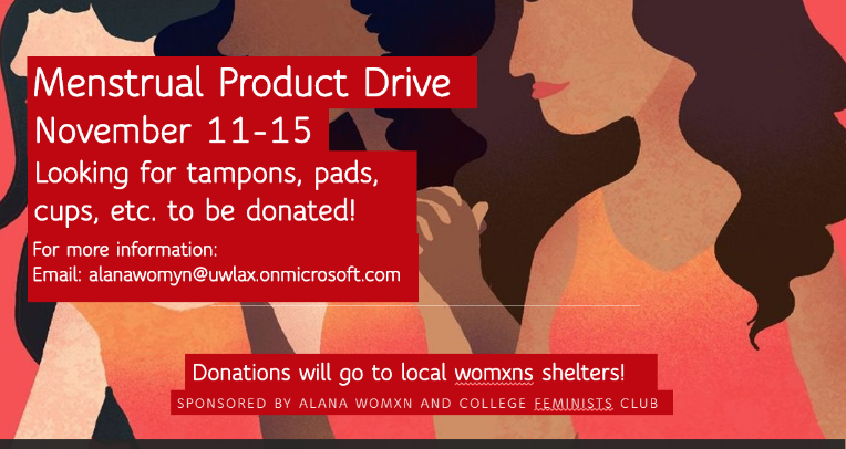 Menstrual product drive promotion material