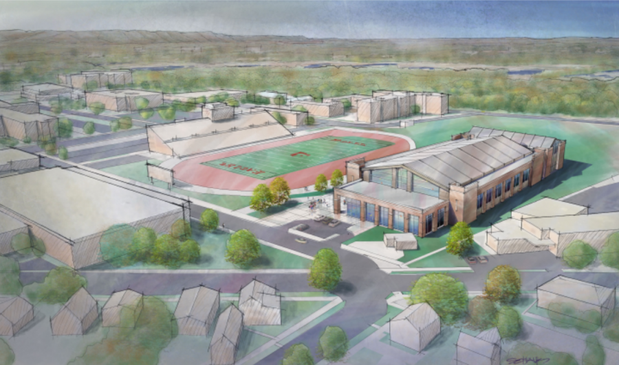An artist's rendering of the student fieldhouse.