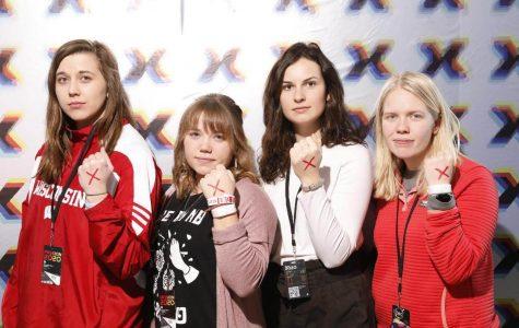 From left to right: Natasha Stubbe  (Senior), Hannah Dekeyser (Junior), Maddie Clark (Junior) and Erin Nulty (UWL Alum).