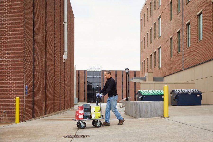 Scott+Cooper%2C+UWL+director+of+Undergraduate+Reserach%2C+helped+deliver+supplies.+