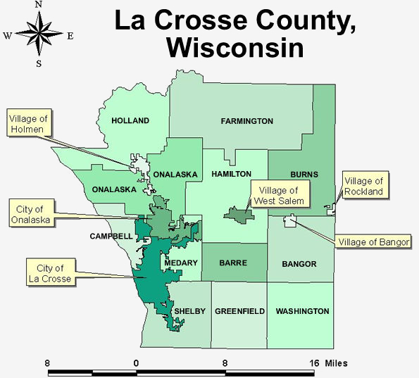 Map of La Crosse County.