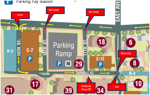 Map of curbside drop-off options at UWL.