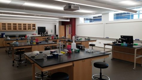 Photo taken by Lee Baines. Empty genetics laboratory classroom.