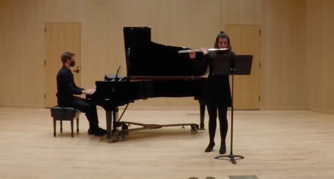 Pictured left to right:  Hunter Adams and Sierra Staus. Photo retrieved from the UWL Music Department Facebook page.