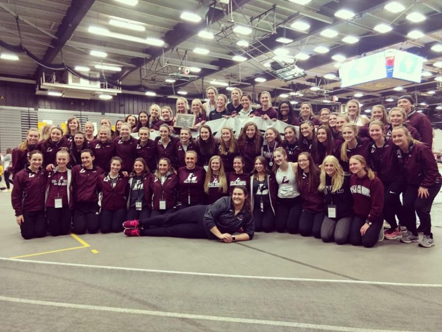 A photograph of the Women's Track and Field team at the 2020 WIAC Championships.