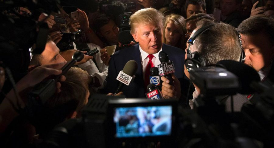 Republican+presidential+candidate+Donald+Trump+speaks+to+the+media.