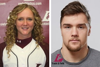 Left to right: Caitlyn Hughes, Seth Holden. (Photo credit: UWL Athletics).