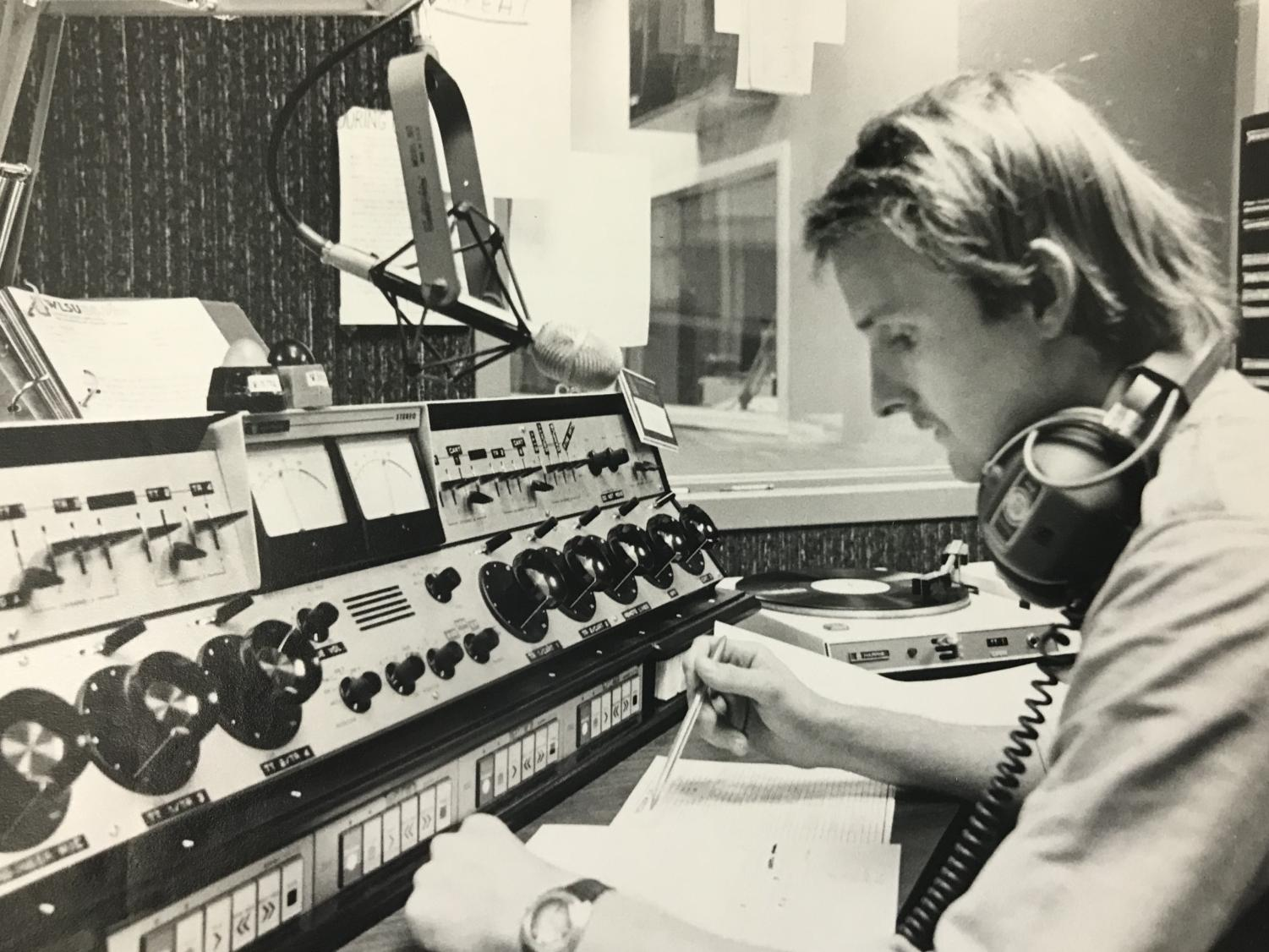 UWL student broadcasting on WLSU in 1980. Retrieved from UWL archives.