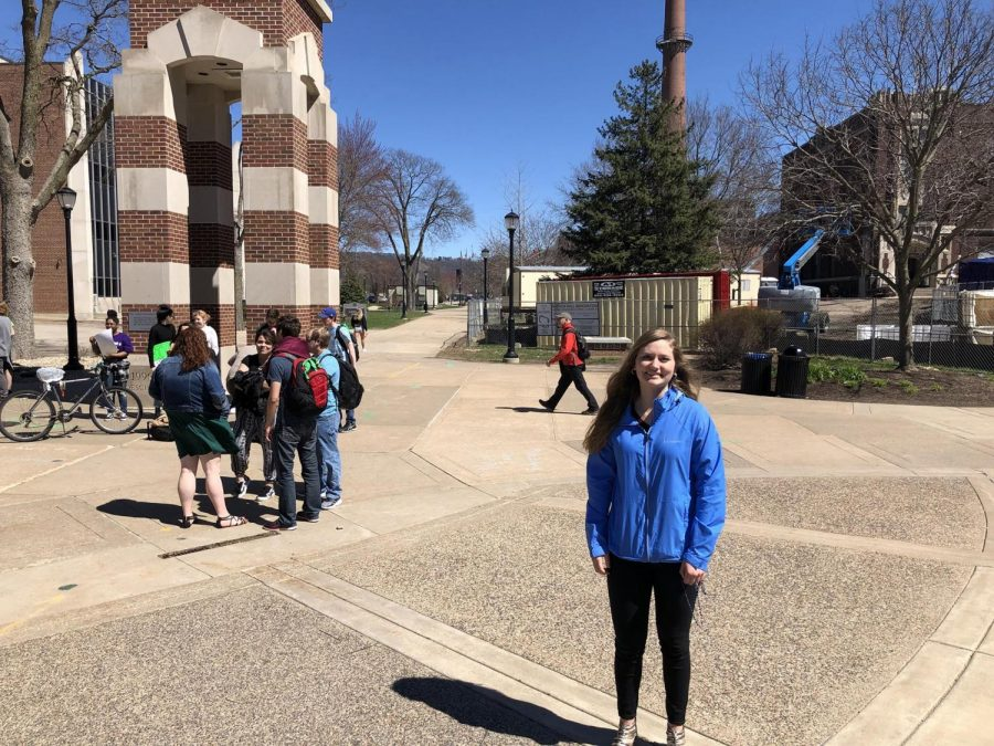UWL student Katie Fleischman attended the pro-choice rally to oppose the message.
