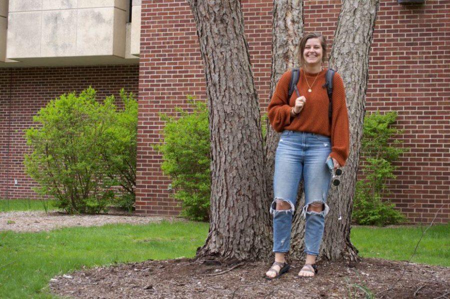 UWL+student+Livi+Hackbarth+poses+outside+of+Murphy+Library.