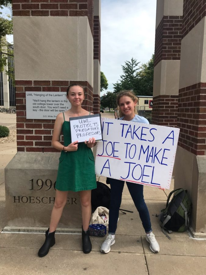 Kendra+Elise+Whelan+%28left%29+was+joined+by+UWL+senior+Bailey+Click+%28right%29+to+protest+at+the+clocktower.