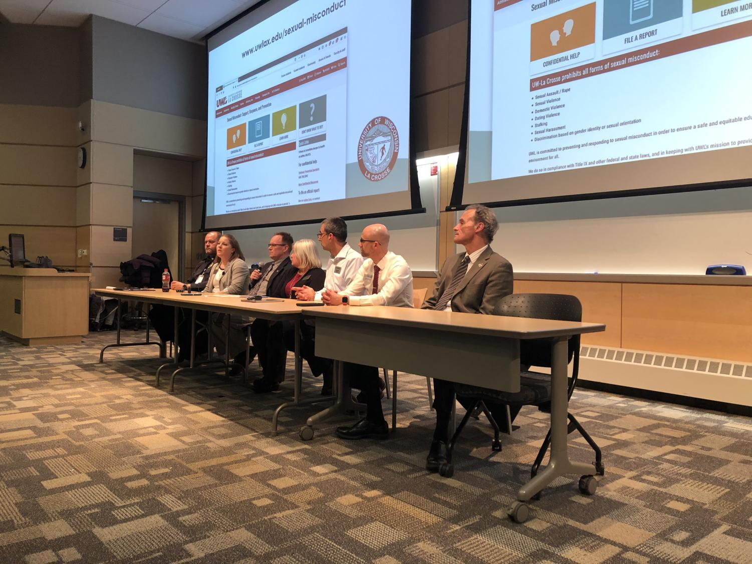 Chancellor Joe Gow and Title IX team at the open forum. Photo taken by  Sam Stroozas.
