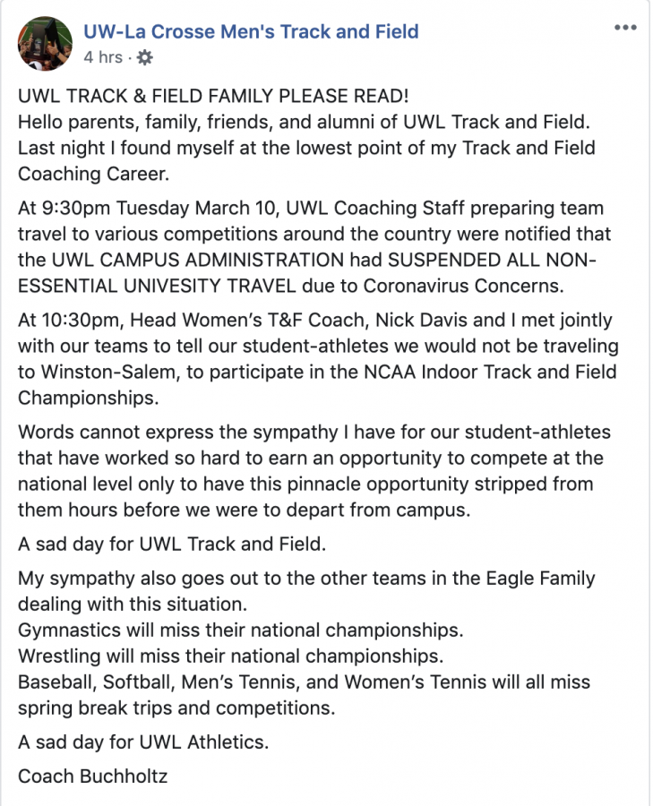 Announcement from UWL men's track and field Facebook page.
