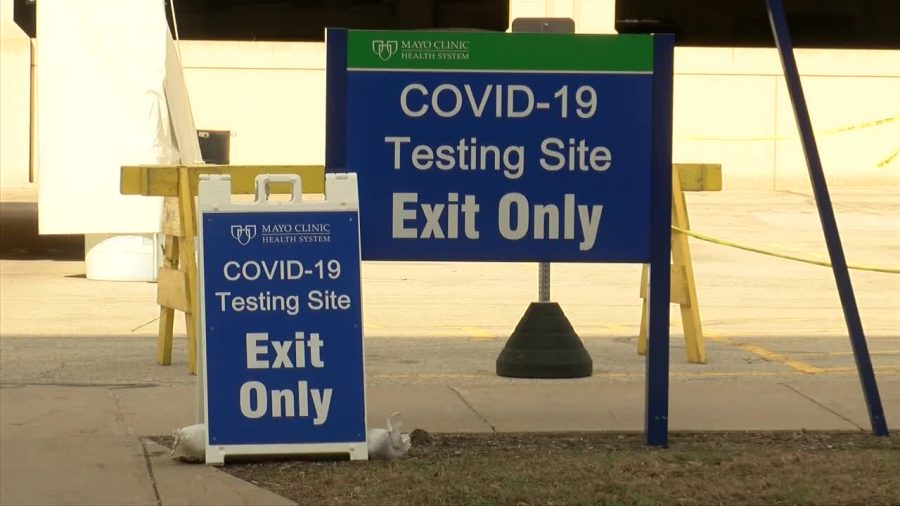 Testing Site Signs at Mayo Clinic Health Systems in La Crosse.