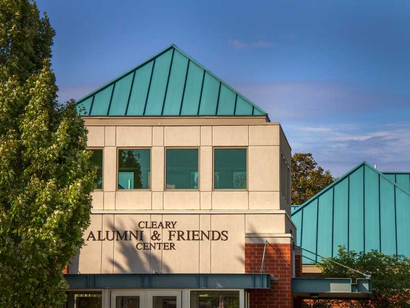 A photograph of the outside of the Cleary Alumni Center.