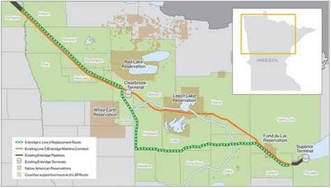 A map of the new and old corridor of oil pipeline Line 3.