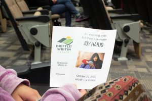 A photograph of pamphlets from the Joy Harjo event.